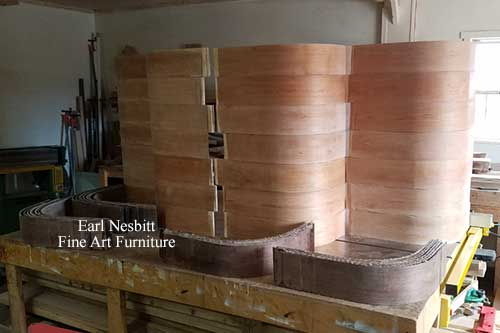 stacked laminates for custom made art deco cabinet in Earl's shop