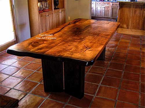custom made modern mesquite dining table with ebonized base and ends