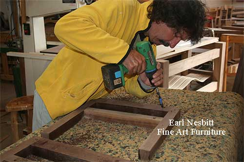 Earl drilling mortises for custom made chairs