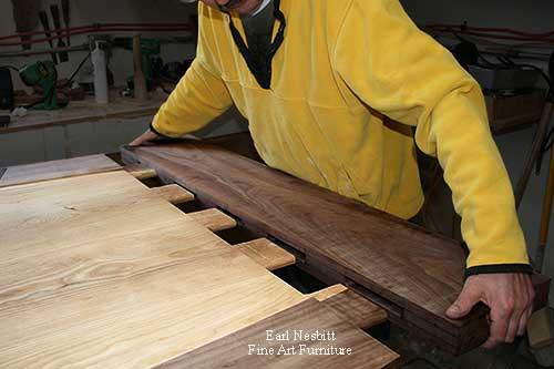 Earl fitting mortise and tenon ends on custom made dining table