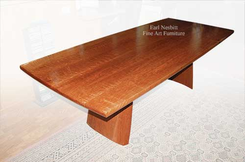 custom solid cherry dining table shows figured top