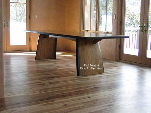 custom made hickory dining table showing base