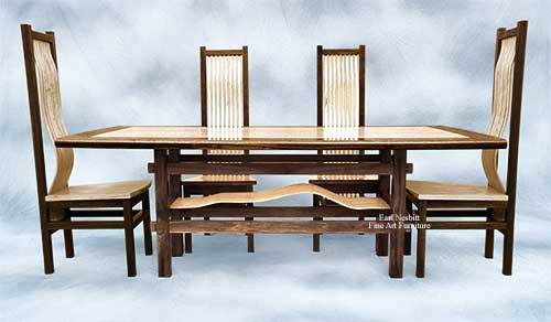 custom made ash and walnut dining set showing four of eight chairs, slats in base, and matching slats in custom chairs