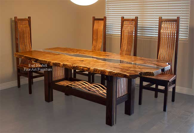 custom made mesquite live edge dining table with eight chairs