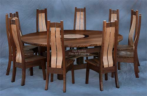 custom made round dining table set with ten chairs