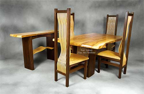 custom made ash and walnut wood slab table with four chairs and matching hall table