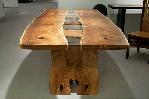 custom made live edge mesquite slab dining table end view
